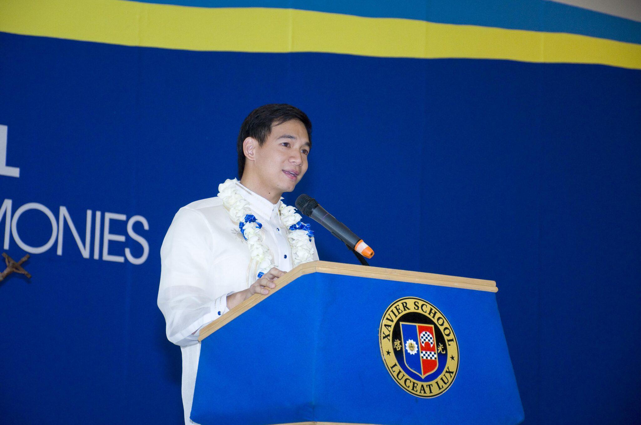 Mr. Christopher John A. Tiu (XS 2003) Delivers Keynote Address to Grade School Batch 2019