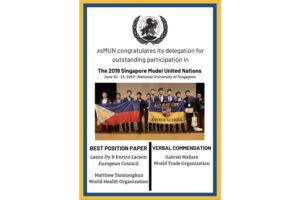 XSMUN Delegates Display Excellence at Singapore Model United Nations
