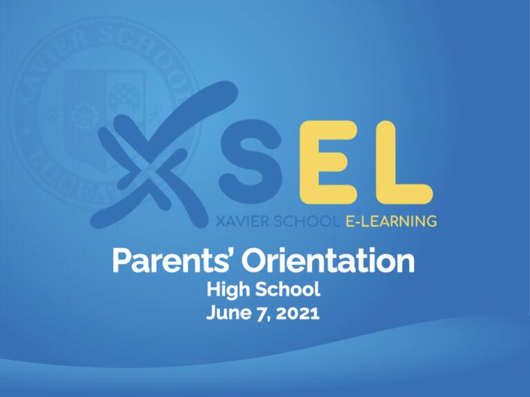 HS Parents' Orientation for SY 2021–2022