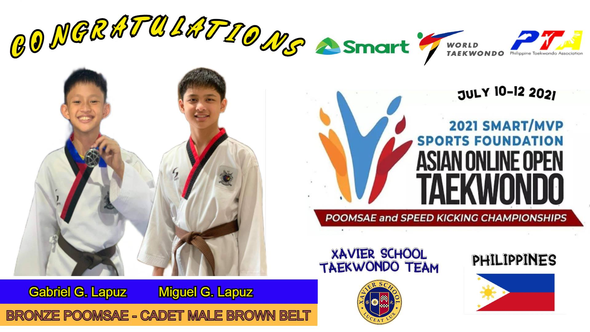 You are currently viewing Xavier Jins Earn Bronze Medals in 2021 Asian Online Open Taekwondo Championships